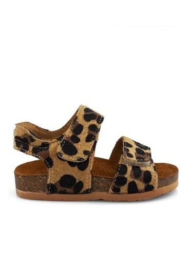 Cicibebe Crocodil Deri Kız Çocuk Sandalet Leopar